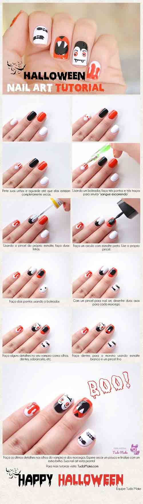 Easy Halloween Nail Art Tutorials 2019 Step By Step Halloween Nails Halloween Nails Easy Halloween Nail Art Tutorial