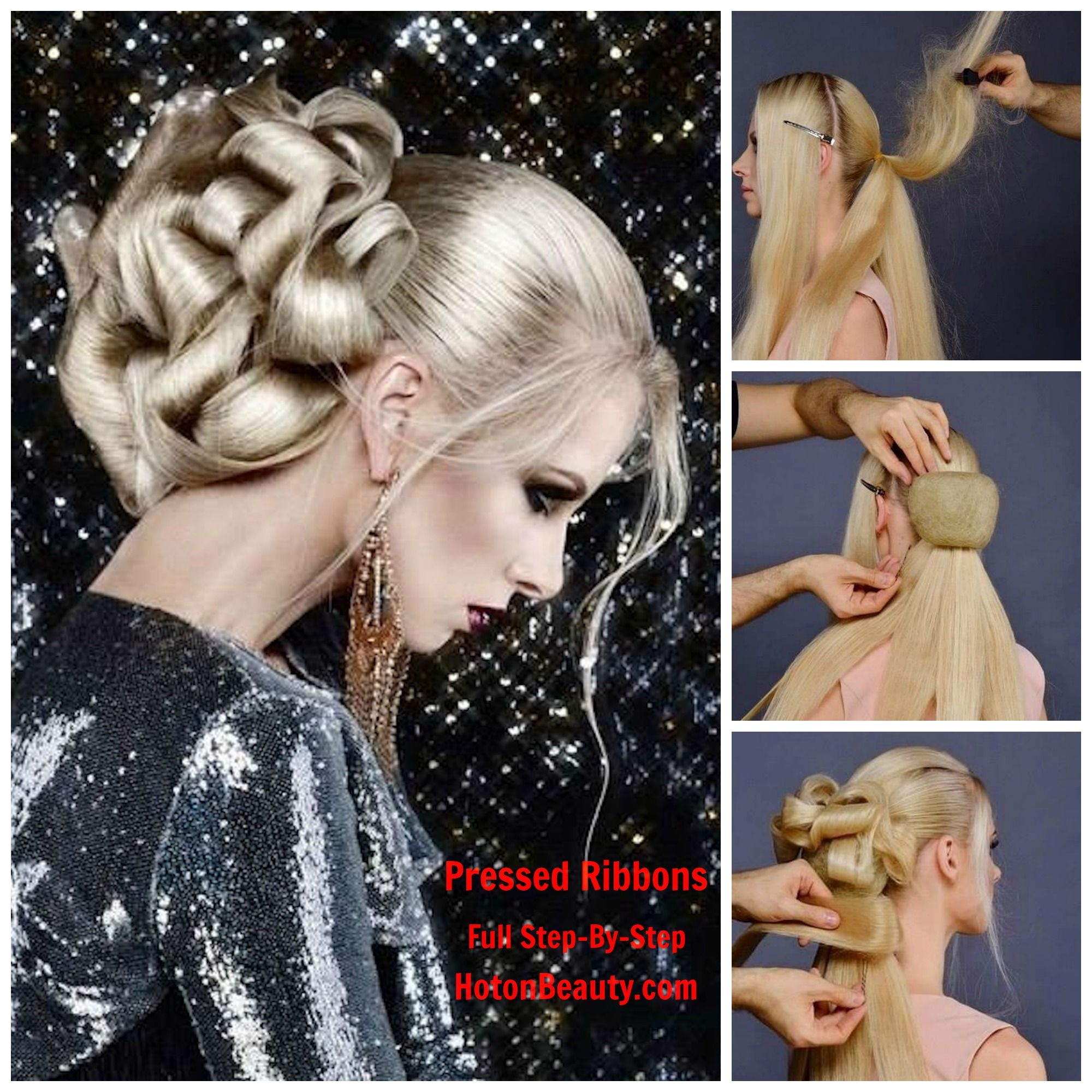 Sharon blain education hair up pinterest - Gorgeous Pressed Ribbons Updo By Ruslan Tatyanin Just Posted On Our Pro Beauty Site
