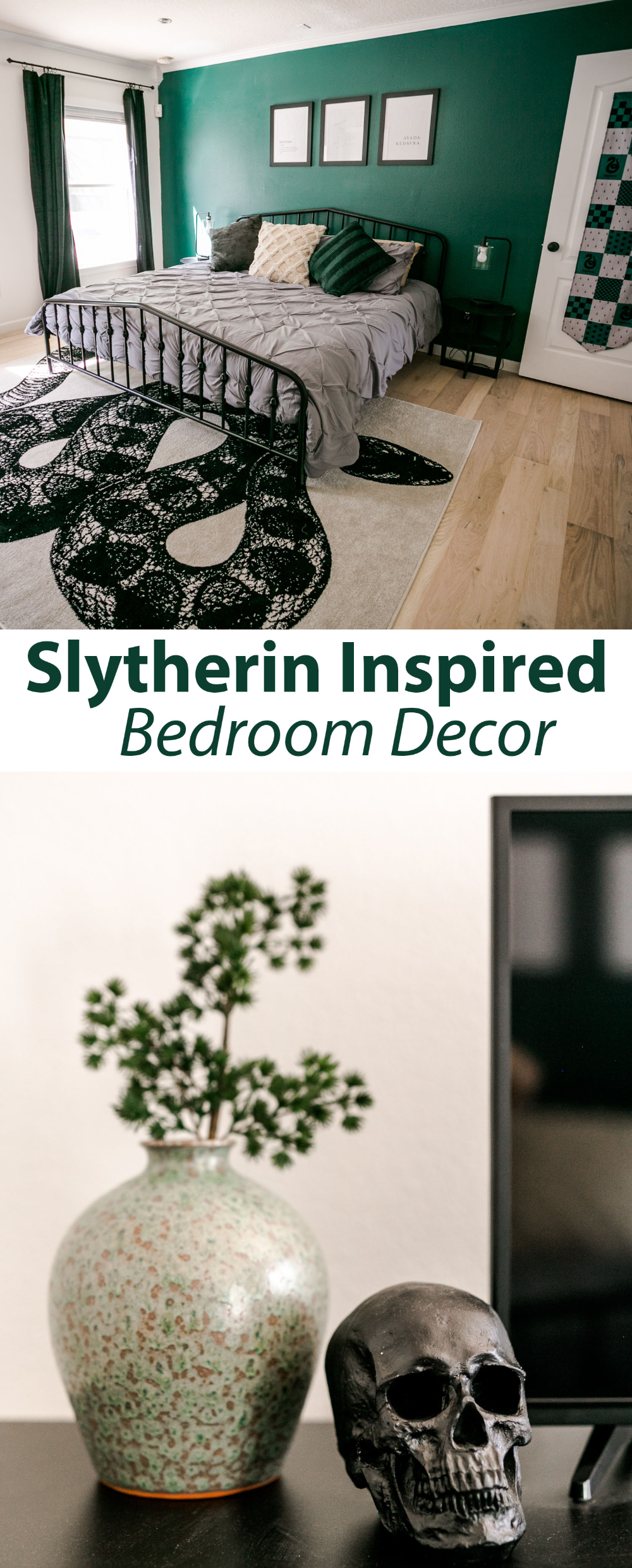 Slytherin Inspired Bedroom A Beautiful Mess Harry Potter Bedroom Decor Slytherin Decor Bedroom Inspirations