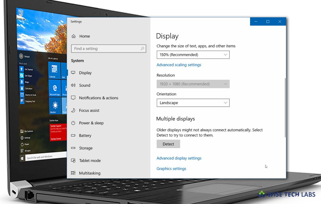 How To Change Content Size And Screen Resolution On Your Windows 10 Pc Blog Wise Tech Labs Screen Resolution Display Resolution Windows 10