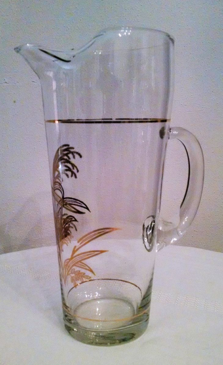martini pitcher vintage golden wheat grass pattern clear