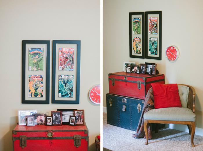 Living room decor | comic book frames | basement | Room ...