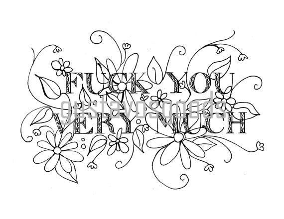 Swear Word Coloring Book Pages Fck You Very Much Curse