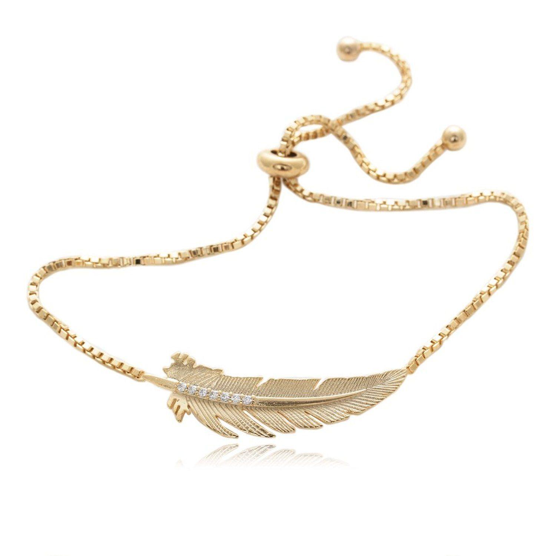 Amazon.com: Robin Hood Leaf Shape Bracelet 7 Round Cubic Zirconia Gold Plated Box Chain: Jewelry