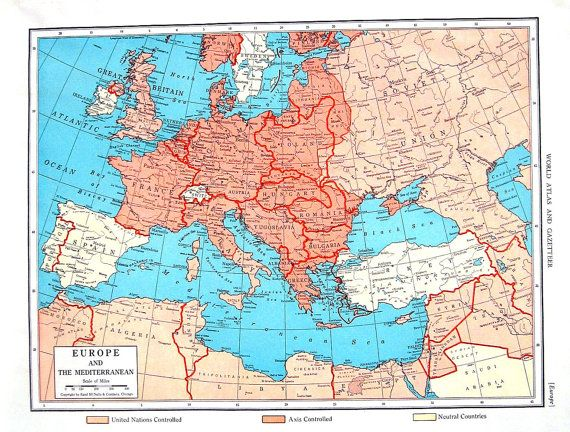 1944 Vintage Map - Europe Map, The Far East Map - 2 Sided - 11 x 14 ...
