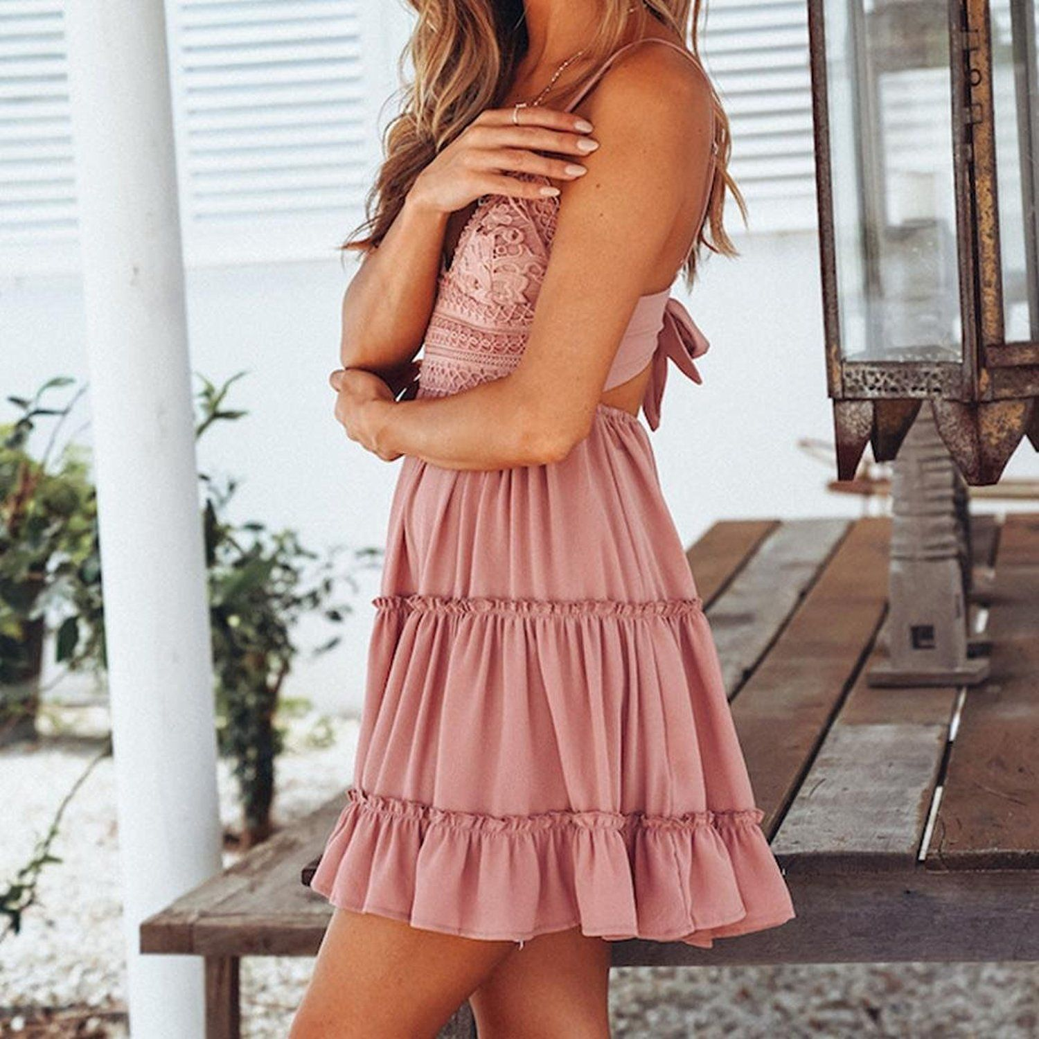 8fa6715533 Summer Dress Clearance Women Sexy Spaghetti Strap Backless Mini Dress Solid  Lace Bowknot Party Beach Sundress at Amazon Women s Clothing store