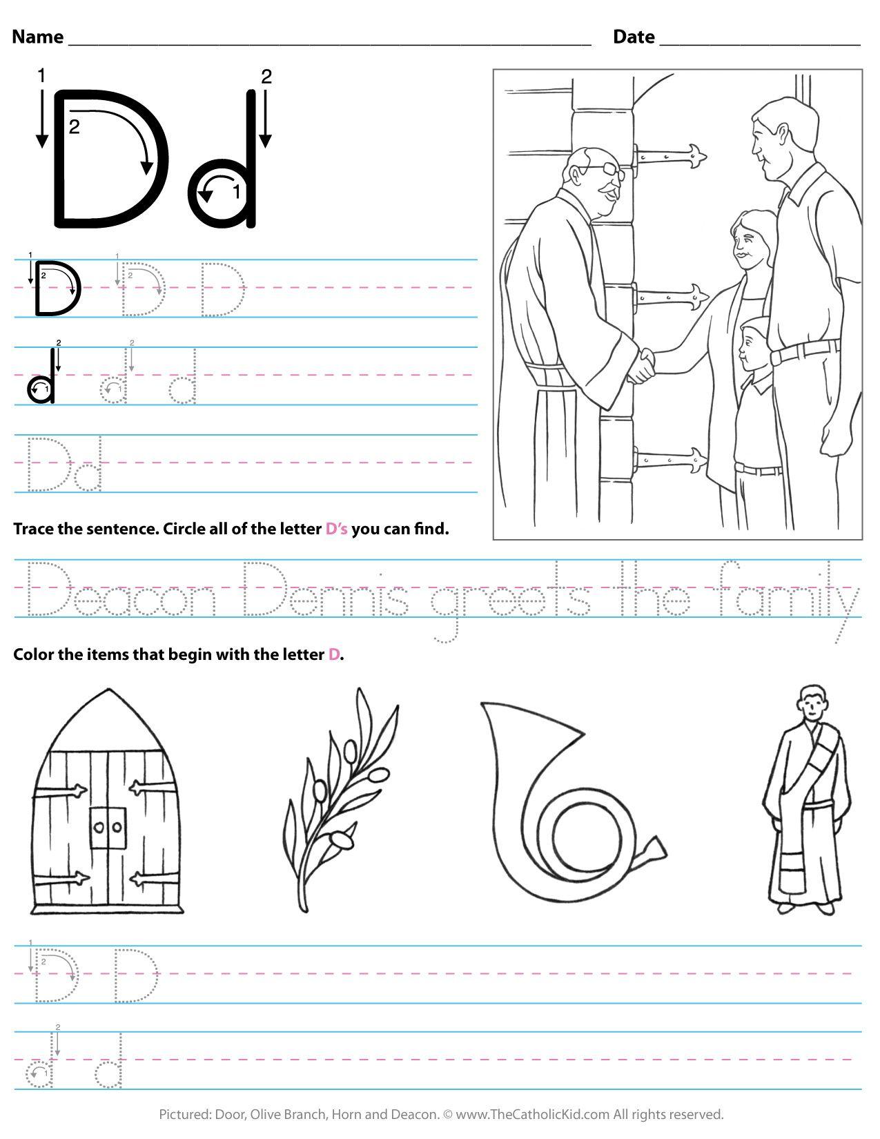 Catholic Alphabet Letter D Worksheet Preschool