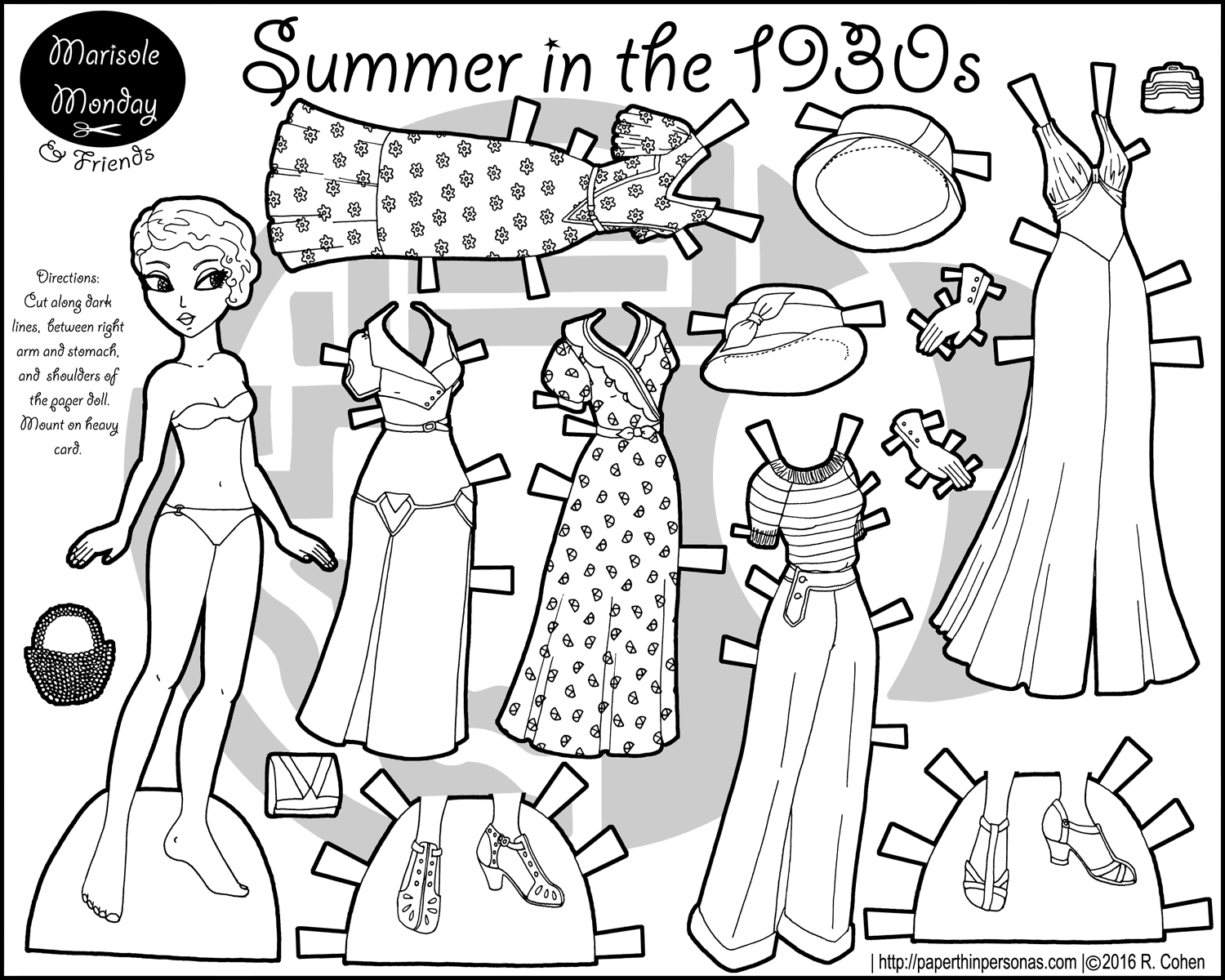 A paper doll coloring page celebrating the 1930s with a five piece