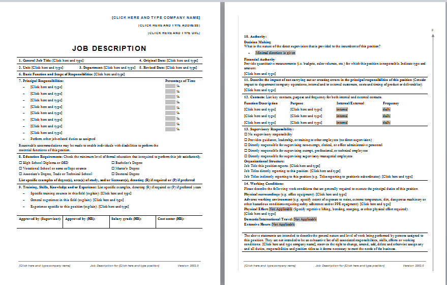 Simple Job Description Template  Job Descriptions