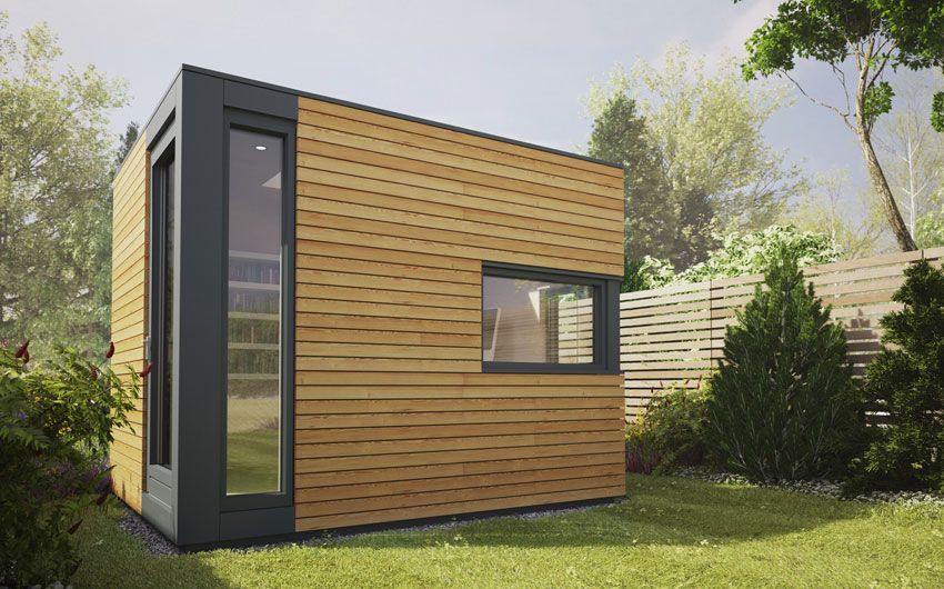 Uk garden pods outdoor office building designed by pod for Outside office shed