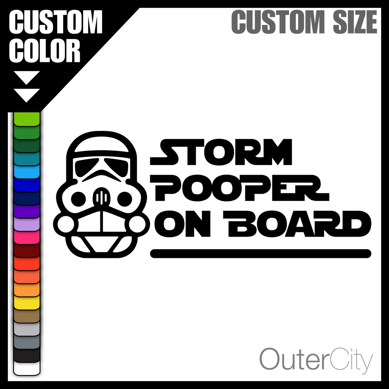 Bumper sticker maker free online - Storm Pooper On Board Baby On Board Window Label Custom Size Color Vinyl Decal Bumper Sticker Star Wars Storm Trooper Novelty Gift