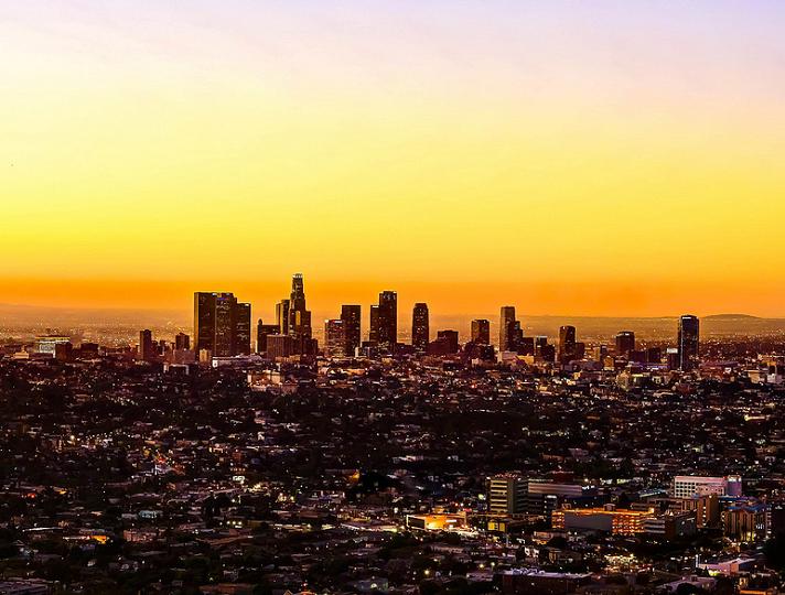 Sunrise Los Angeles Cityscape Dream City Sunrise