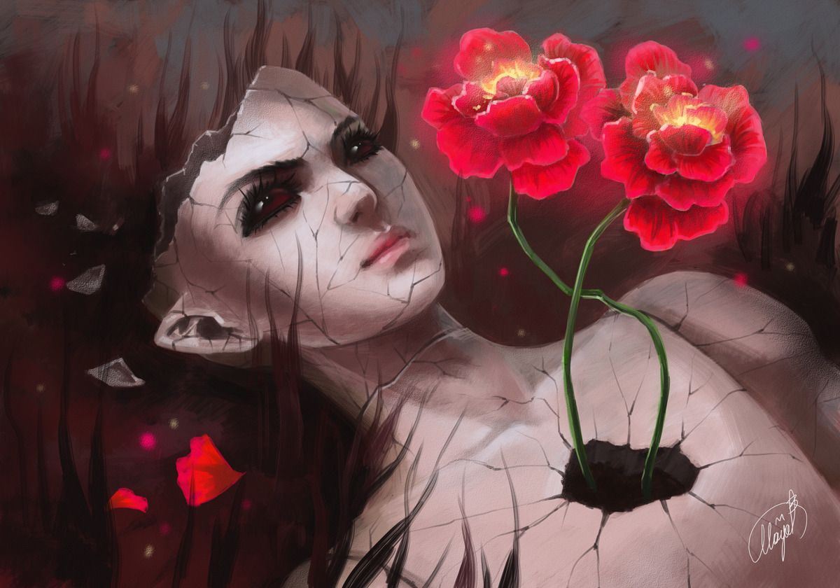 emptiness and flowers picture 2d surrealism flowers