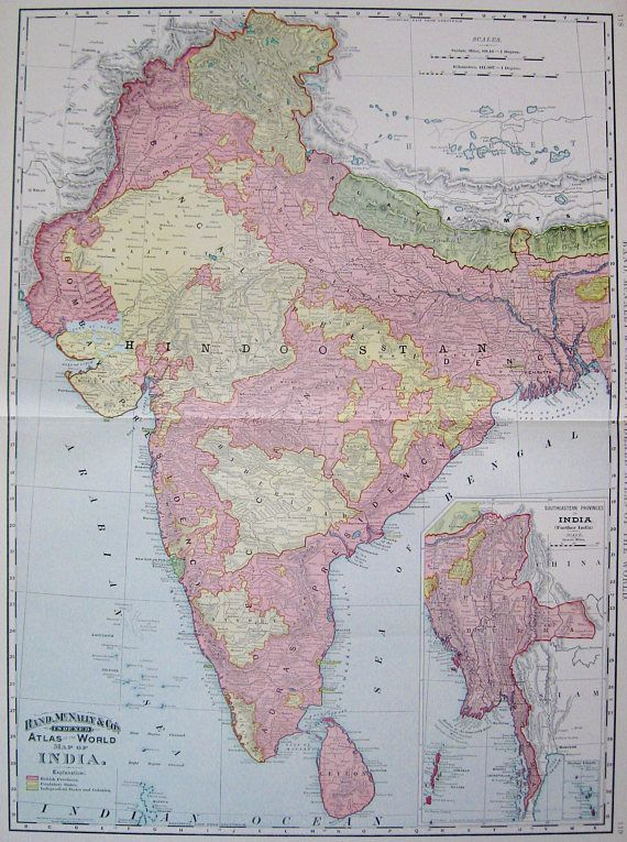 1894 rare antique india map vintage map of india poster print maps 1894 rare antique india map vintage map of india poster print gumiabroncs Images