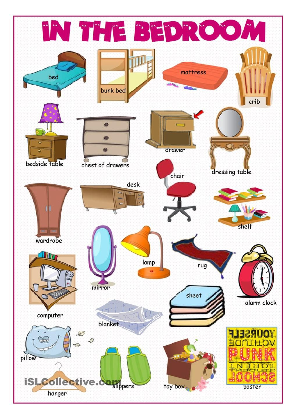 bedroom things list in the bedroom picture dictionary poon 10095