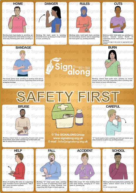 Signalong Signs for avoiding accidents or dealing with the