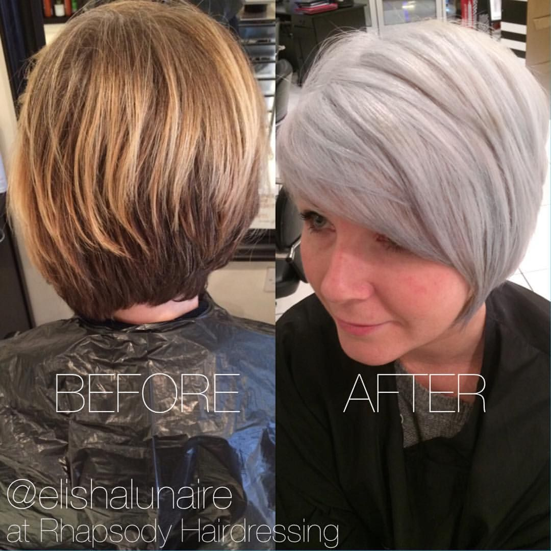 "Elisha Lunaire on Instagram: ""I love a big transformation! Before and After from grown out blonde to an icy silver ❄️❄️❄️ #hairdressing #rhapsodyhair #creativecolour #beforeandafter #restyle #silverhair #greyhair #icyblonde #asymetricalbob #shorthair #hairdressinglife #salonlife #behindthechair #hairbyelisha"""