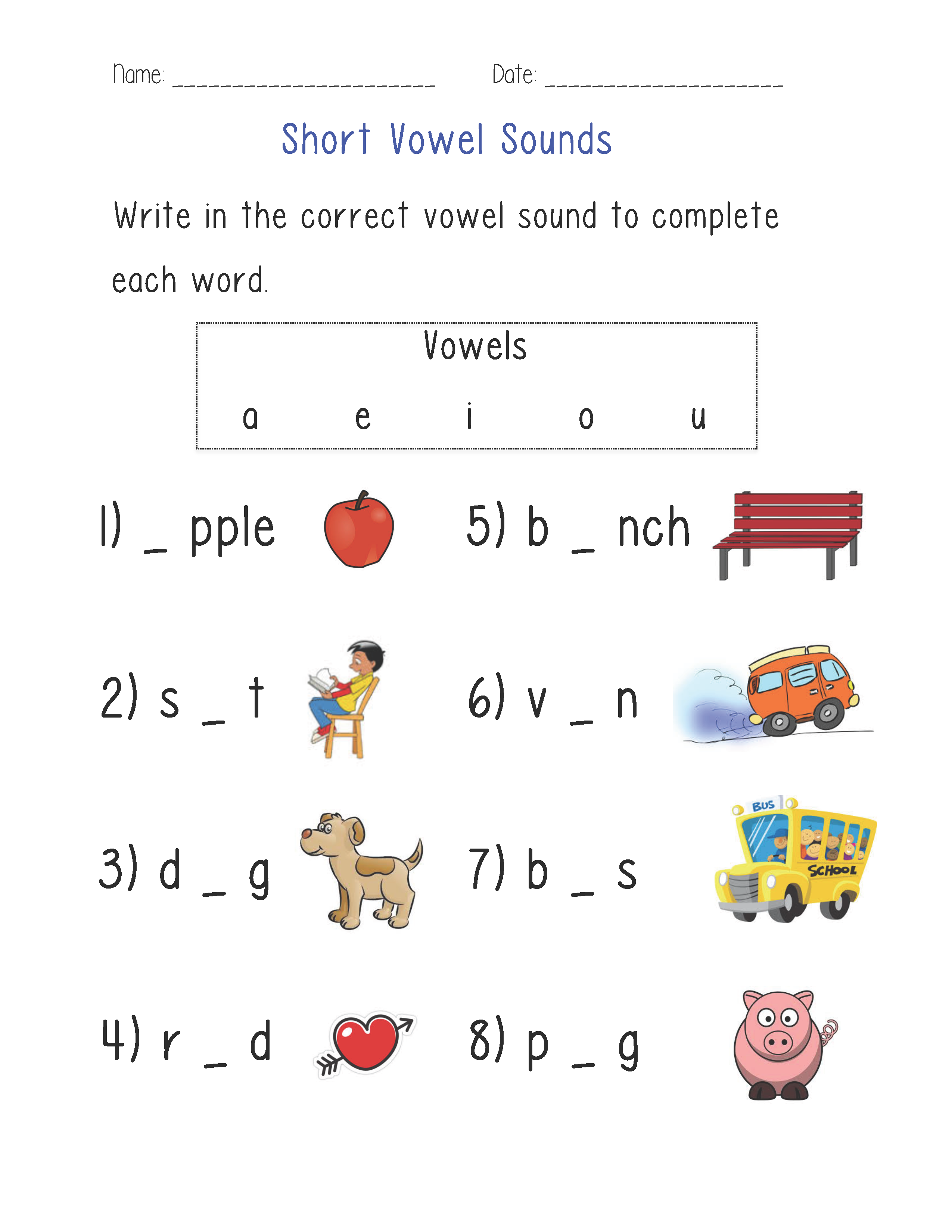 Short Vowel Sounds Worksheet : Englishlinx.com Board : Pinterest : Vowel sounds, Worksheets and ...