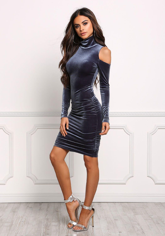 Midnight Blue Cold Shoulder Velvet Bodycon Dress | Pinterest ...