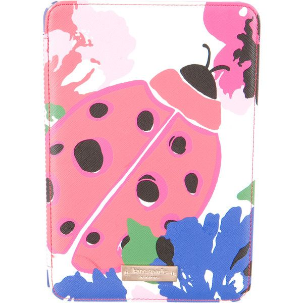 Kate Spade New York Saffiano Leather iPad Mini Case (£35) ❤ liked on Polyvore featuring accessories, tech accessories, white and kate spade