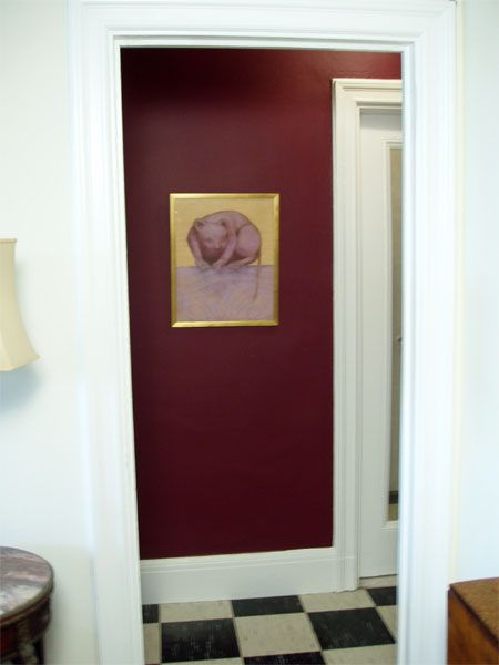 Benjamin Moore Dark Burgundy Dining Room Accent Wall