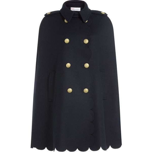 R.E.D. Valentino Wool Cape ($939) ❤ liked on Polyvore featuring outerwear, blue, woolen cape, red valentino, double breasted cape coat, blue cape coat and blue cape