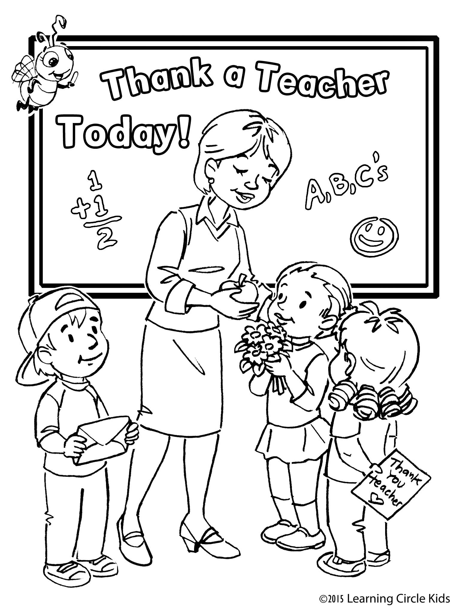 Coloring Pages For Your Teacher : Free kids coloring page for teacher appreciation day http
