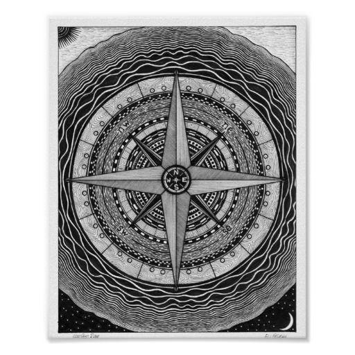 kompass rosen plakat compass rose. Black Bedroom Furniture Sets. Home Design Ideas