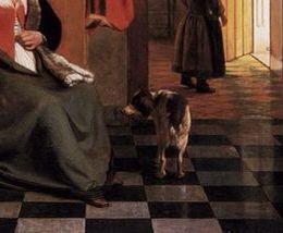 Mother lacing her bodice beside a cradle,  ( detail ) 1659-60, Pieter de Hooch -