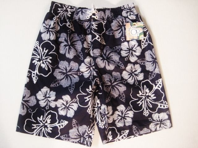 NWT OP Ocean Pacific Boys Swim Trunks Shorts String Tie Size Medium 8 Blue $9.99