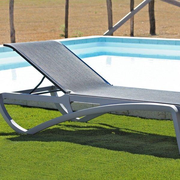chaise longue piscine aliz noire grise bain soleil transat fauteuil outdoor garden. Black Bedroom Furniture Sets. Home Design Ideas