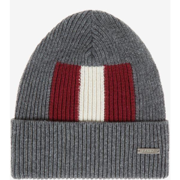 Bally Stripe Beanie Hat Grey, Mens wool beanie hat in grey Bally