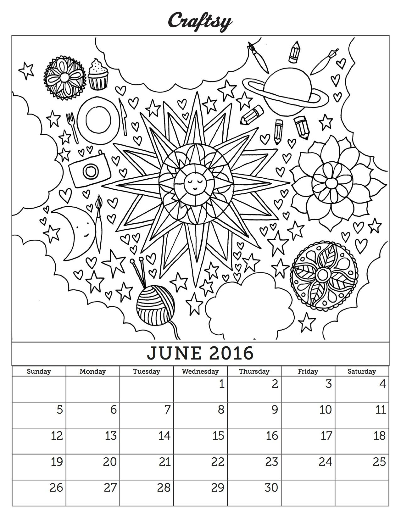 June 2016 Coloring Page Calendar Coloring Pages Coloring Pages