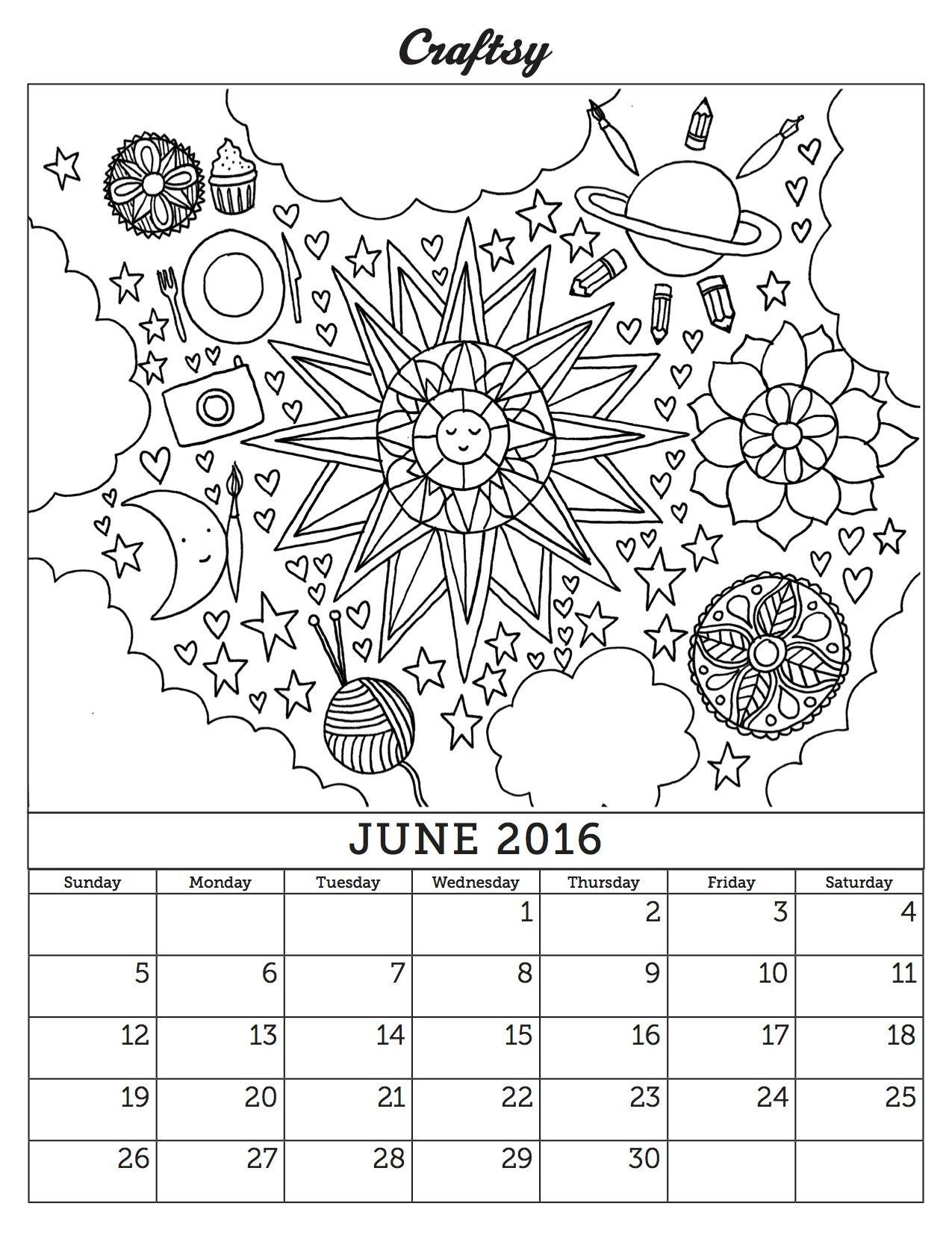 June 2016 Coloring Page Calendar