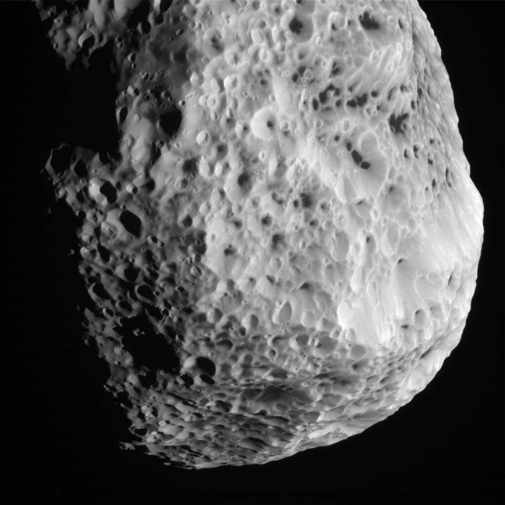 Saturn's sponge-like moon Hyperion on May 31, 2015, observed by the Cassini space probe. (NASA Jet Propulsion Laborato