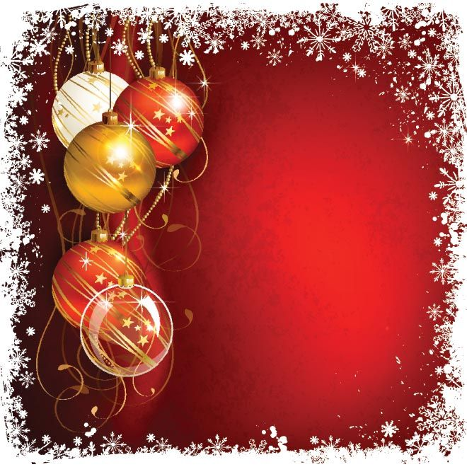 Beautiful Xmas Balls With Snowflake Grunge Red Background