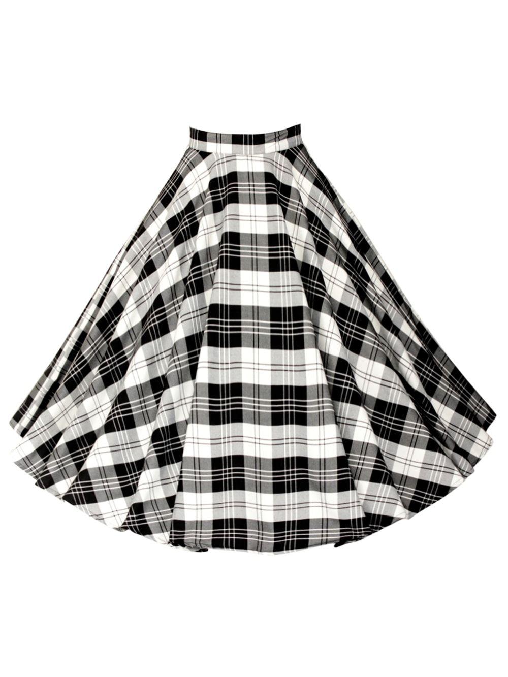 Repro-1950s-Circle-Skirt-Black-White-Tartan-Rockabilly-Swing-Pinup