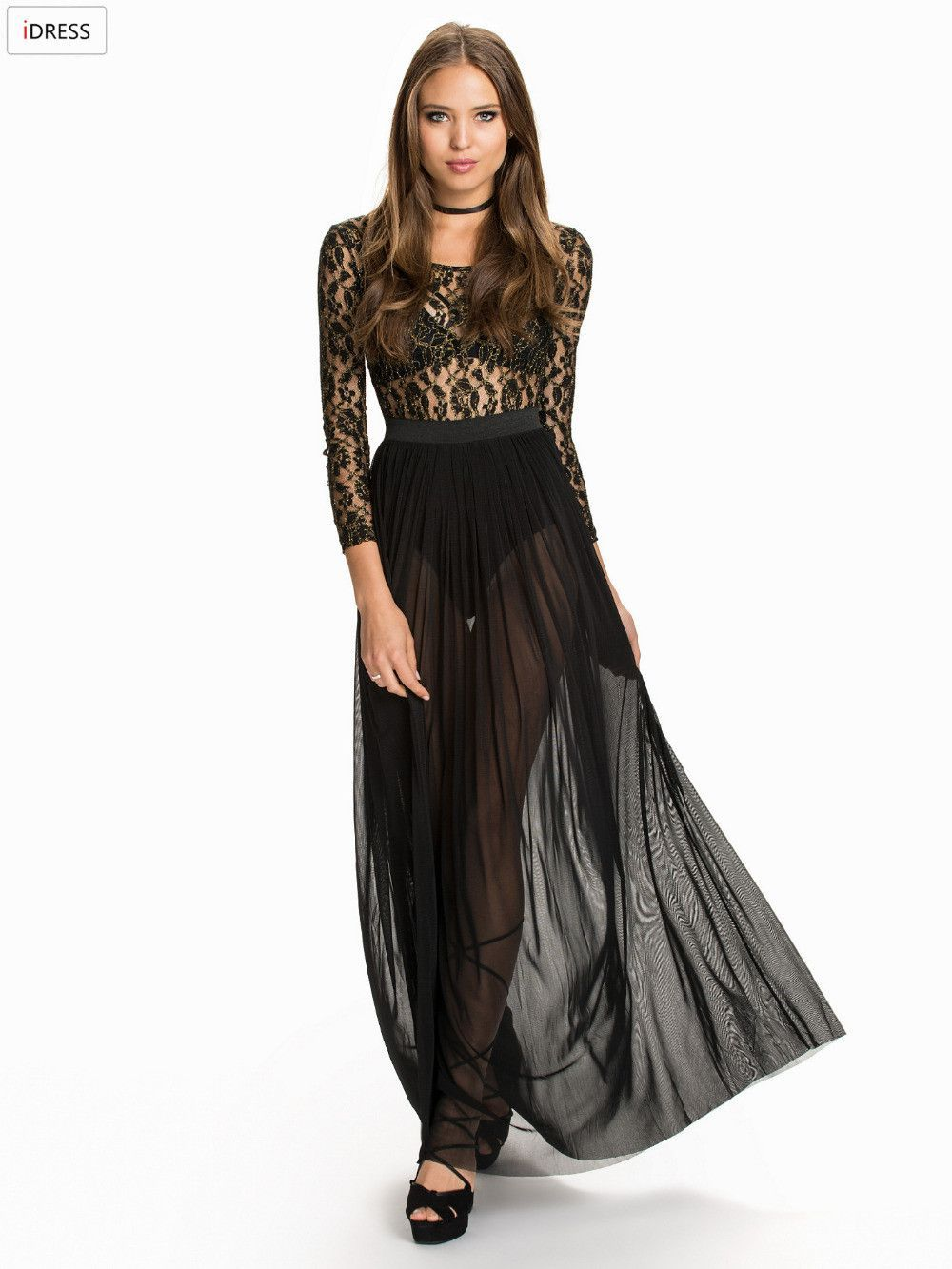 Idress women black long dress gold flower lace long sleeve party