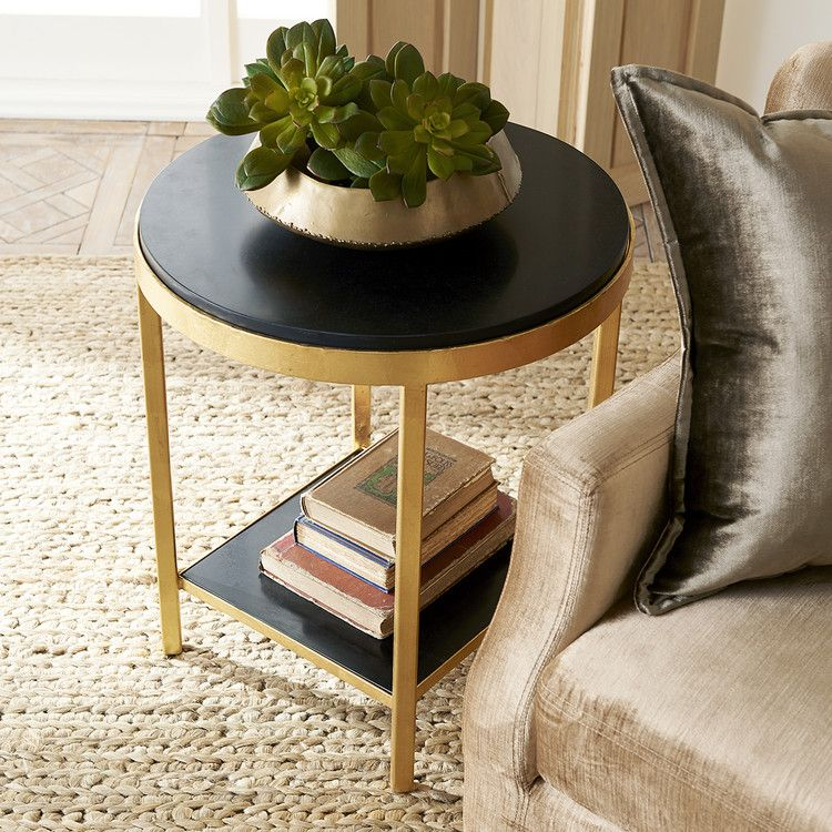 Black Kadappa Marble Gold Leaf Side Table In 2020 Table Table Height Home Decor