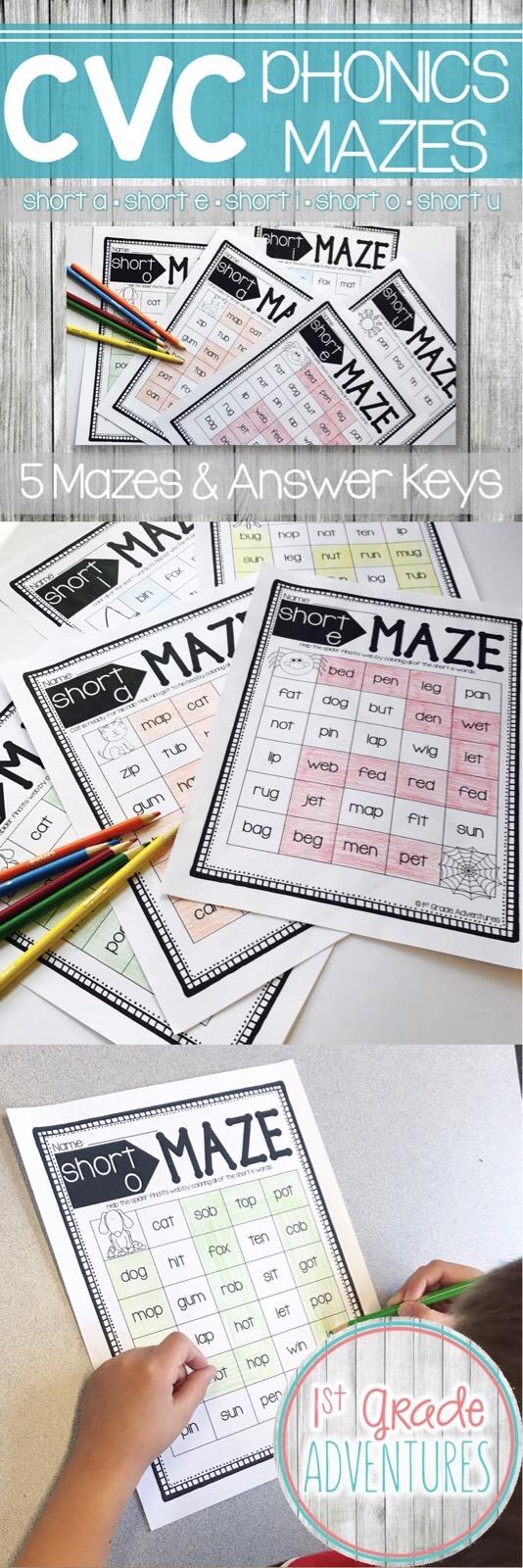 Workbooks short a phonics worksheets : CVC Worksheets- Phonics Word Mazes | Short vowels, Phonics and Maze