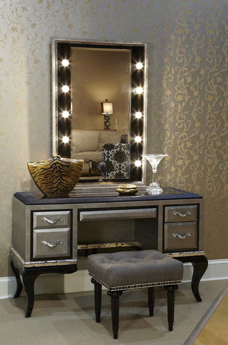 lavish bedroom vanity sets with lighted mirror and rectangle puff ...