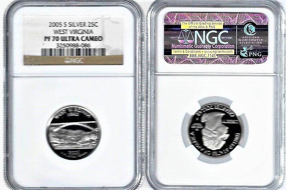 2005 S Silver 25C West Virginia NGC PF 69 Ultra Cameo Statehood Quarter PR 69
