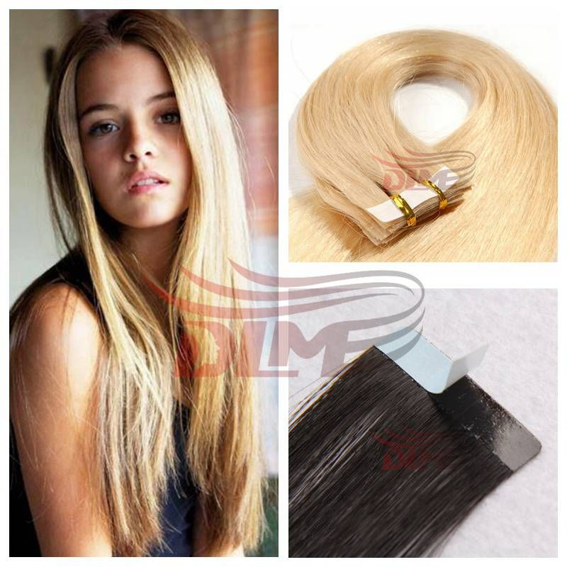 10a Silky Straight Adhesive Blonde Tape In Human Hair Extensions 50g