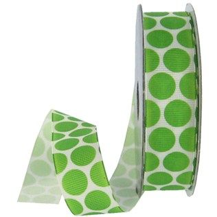 """This Packed Polka Grosgrain Ribbon would be perfect for decorating scrapbook pages, greeting cards, invitations, wrapping packages, hair accessories and so much more.The ribbon is made of 100% polyester.    Ribbon Details:      Ribbon Width: 7/8""""    Color: Lime Green    Ribbon Type: Grosgrain    Spool Length: 5 Yards"""