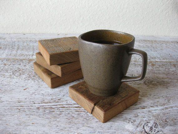 Reclaimed Barn Wood Coasters Set of 4 by PhloxRiverStudio on Etsy