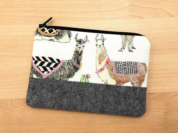 Llama Print Coin Purse Zipper Pouch Small Wallet Small Pouch