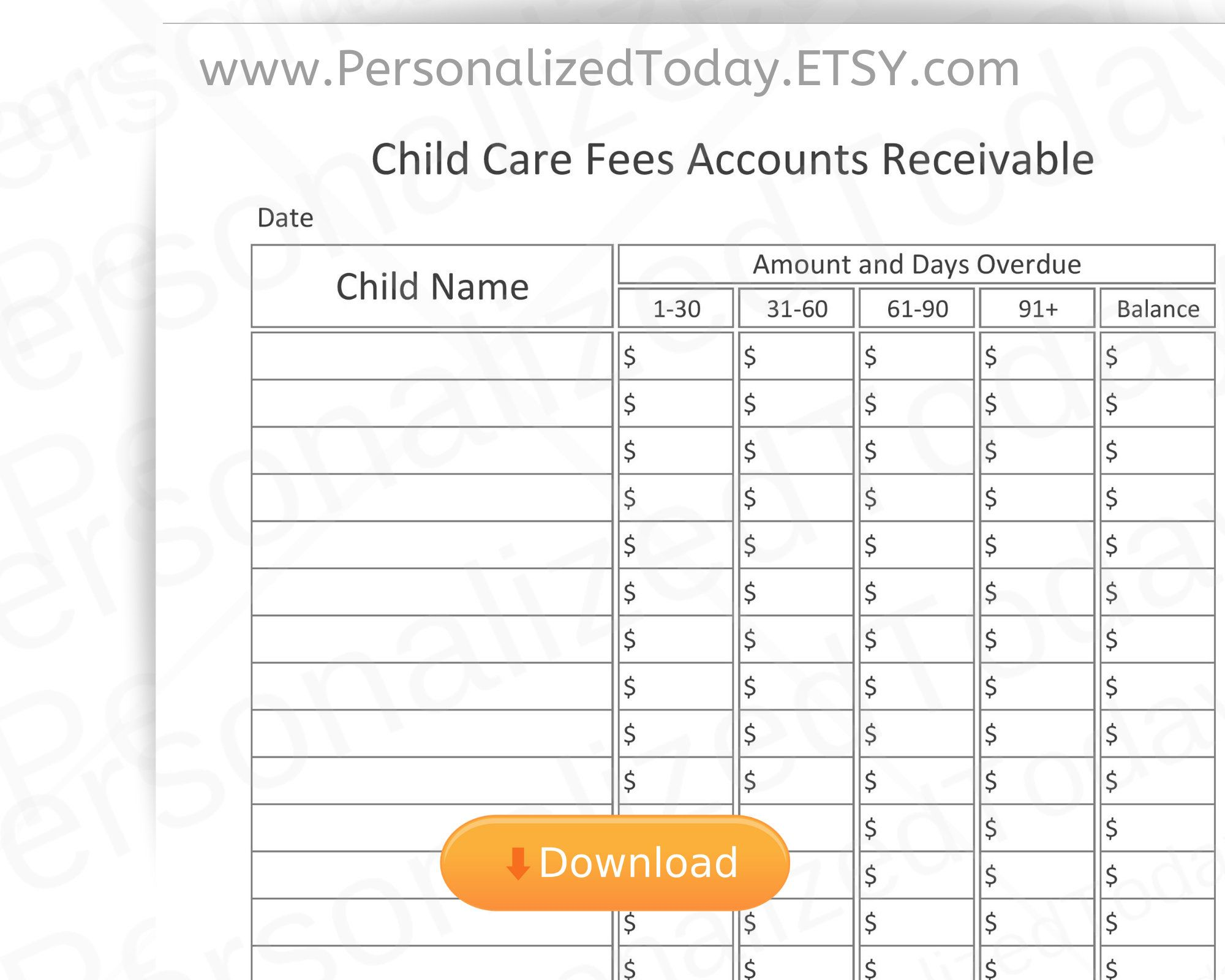 Printable Daycare Accounts Receivable Aging Business