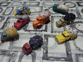 pick up truck pin cushions, too cute)