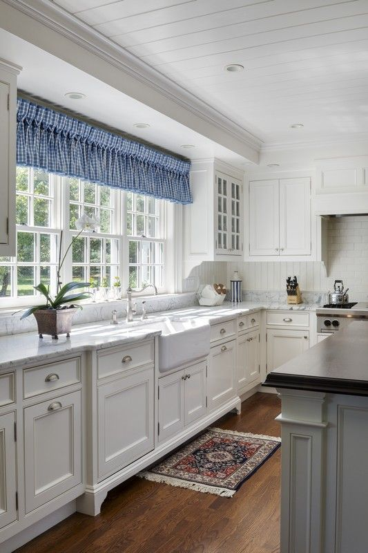 A Farmhouse Sink Flat Panel Beaded Inset Cabinets With Bracketed Feet And Marble Cou Kitchen Curtain Designs Kitchen Design Small Kitchen Cabinets With Feet
