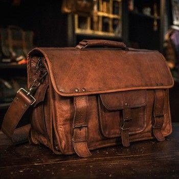 f23905810d20 Everett Vintage Leather Pilot Briefcase Bag - Large